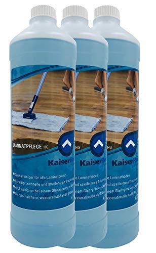 KaiserRein Laminat-Reiniger HG Bodenreiniger Konzentrat 3 x 1 L als Unterhalts-Reiniger und Grund-Reiniger reinigt & pflegt den Boden in einem Arbeitsgang