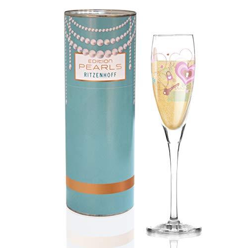 RITZENHOFF Pearls Edition Proseccoglas von Alice Wilson, aus Kristallglas, 160 ml, mit edlen Roségoldanteilen