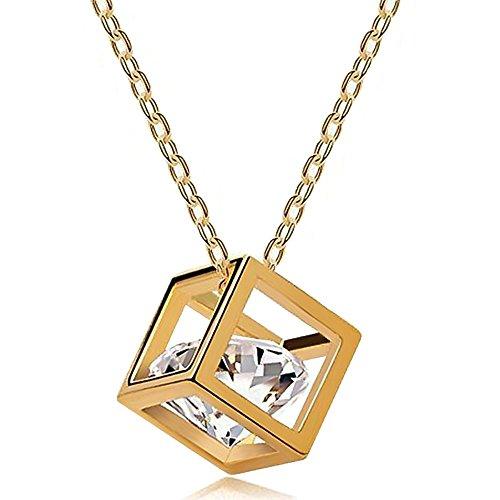 Autiga außergewöhnliche Damen Halskette Zirkonia in Würfel Anhänger, Cube, Gold