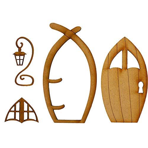biteatey Dimensional Fairy Door, 3D-Selbstmontage-Feen-Tür Aus Holz - Beliebte Gnomentür Aus Holz - Rustikale Blockhaus-Elfentür - Mini Cute Country House Tür - Fairy Window Craft Kit