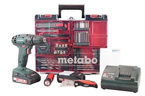 Metabo Mobile Werkstatt Edition C-Metabo 18V Akkuschrauber Set (2X Akku 18V 2,0Ah, Ladegerät, Zubehör) + Bessey Cuttermesser, LED-Lampe, DIN A6 Block
