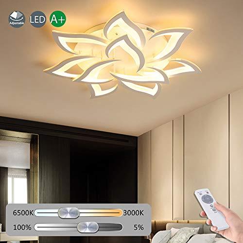 Blume Kreative Deckenlampe LED Deckenleuchte Innen Decken Beleuchtung Für Schlafzimmer Wohnzimmer Mit Fernbedienung Küche Esszimmer Weiß Acryl Lampenschirm Dekorative Dimmable Lampe,10 heads