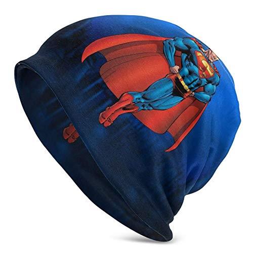 Gorro cálido Superhombre Gorro de Punto para Hombre Adulto Sombreros de pasamontañas Gorro de Calavera con Estampado cálido Negro