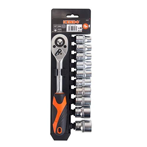 KENDO Steckschlüsselsatz - 11-teilig - 1/2 Zoll Antrieb - Mit ergonomischen Griff - Aus hochwertigen Chrom-Vanadium-Stahl - Zum Schrauben und Montieren