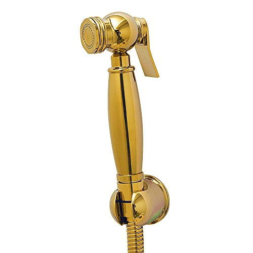 AYIVG Bathroom Brass Gold Wall Mount Hand Held Shower Bidet Shattaf Sprayer Set