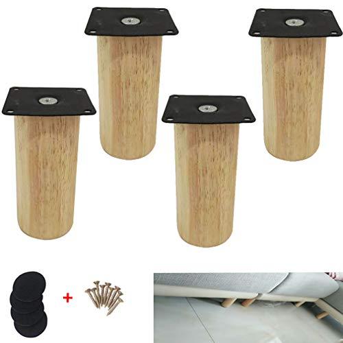 4er Set Möbelfüße aus Massivholz Gummiholz,Rundes TV Schrankbeine Sofafuss,Modern Kaffeetischbeine Möbelbeine,DIY-Ersatzbeine Bettfüße Nachttischbeine Küche Fuß,mit Montagezubehör (15cm/5.9