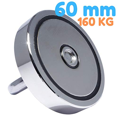 Neodym Bergemagnet 160 KG - Ösenmagnet Mit M8 Gewinde - Neodym Magnete 60mm Durchmesser mit Öse - Topfmagnet Flachgreifer - Super Stark Power Magnete zum Fischen Sondeln Angeln