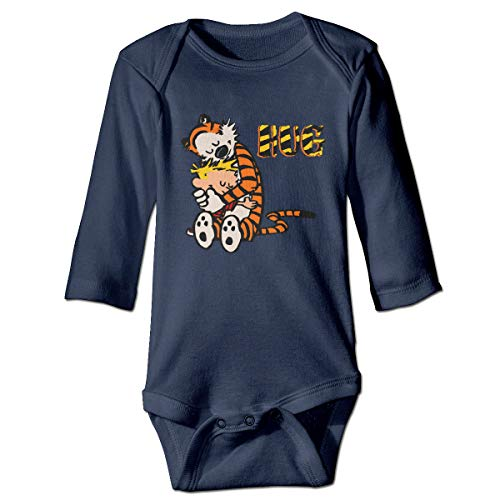 PFZYJLJY Calvin and Hobbes Hug Cute Baby's, Child Long Sleeve Jumpsuit Cotton Navy