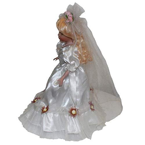 SM SunniMix Muñecas De Porcelana De Estilo Vintage De 40 Cm En Vestido De Novia, Muñeca De Pie, Cabello Dorado, Manualidades De Decoración para El Hogar, Regalos