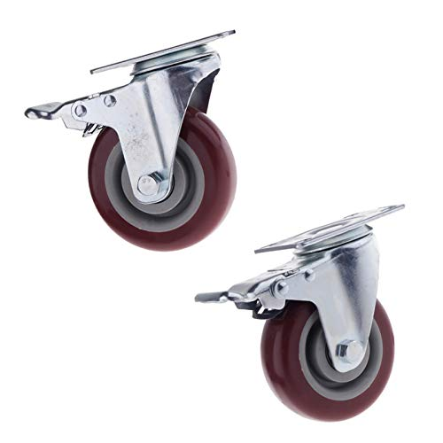 Ruedas para Silla Oficina Placa de goma giratoria de 4 pulgadas Rueda de goma Rodamiento de la placa pesada: con los frenos resistentes al desgaste de los muebles resistentes a las ruedas industriales