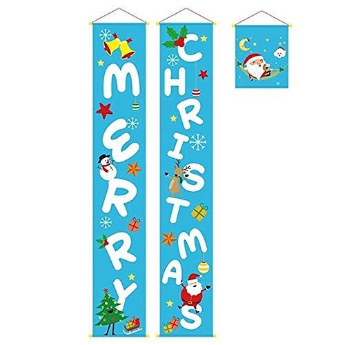 Longzhuo - Imágenes para Ventana para Navidad, 3 Piezas/Frase Frohe Navidad Veranda Banner Weihnachtsschmuck para el hogar Colgante decoración navideña