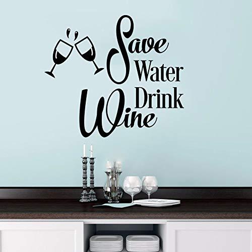 Wandaufkleber Wassersparendes Getränk Wein Wandaufkleber lustige Küche Vinyl Wandaufkleber Weinglas Wandkunst Wandbild abnehmbares Angebot Wandposter 48x42cm