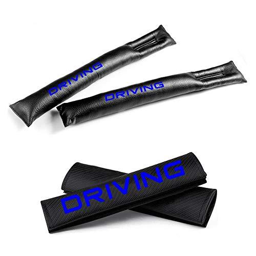 Muchkey Fibre de carbone ceinture de sécurité Coussinets d'épaule et sièges auto Fillers gap de siege de l'espace rembourrage Cuir PU Avec Bleu Réfléchissant Driving Label Noir