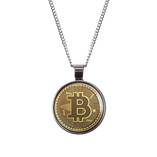 Mylery Hals-Kette mit Motiv Bit-Coin Krypto-währung Münze Silber 28mm