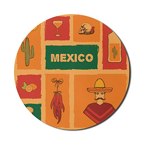 Lunarable Mexican Mouse Pad for Computers, Mexican Cactus Tequila Illustration Lemon Crossbone Pepper Party Print, Round Non-Slip Thick Rubber Modern Gaming Mousepad, 8' Round, Orange Green Red
