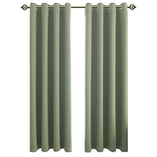 FLOWEROOM Blickdichte Gardinen Verdunkelungsvorhang - Lichtundurchlässige Vorhang mit Ösen für Schlafzimmer Geräuschreduzierung Nilgrün 245x140cm(HxB), 2er Set