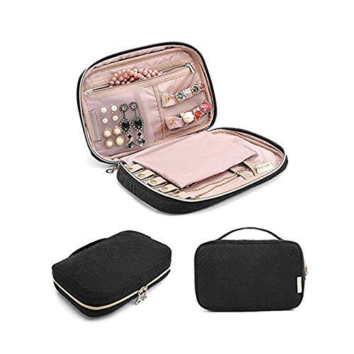 joyeros Mujer Organizador joyero Viaje Caja de la baratija Bastante, Caja de joyería Pendiente de la Caja de Almacenamiento Exhibición de la joyería Black