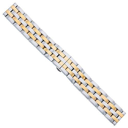 Correa de repuesto para reloj de Minott 29478, de acero inoxidable, bicolor, compatible con los relojes Breitling, puente ancho de 18mm