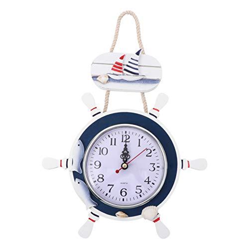 Reloj de Pared de Estilo Mediterráneo Reloj Redondo de Madera Ancla Náutica Barco Volante Tiempo Reloj Colgante de Pared Decoración para El Hogar