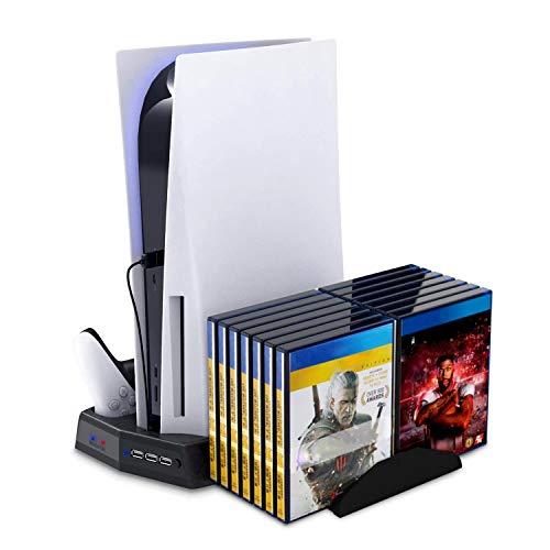 Autker Vertikaler Standventilator für Playstation 5 Digital Edition/Ultra HD, PS5 Ständer mit 14 einziehbaren Spielplätzen & Dual Controller Ladestation & Organizer USB-Ports & LED-Anzeigen