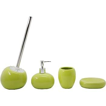 4 Pezzi Dispenser Verde BM 4071 Set di Accessori da Bagno in Ceramica Portasaponetta Portascopino Portaspazzolino