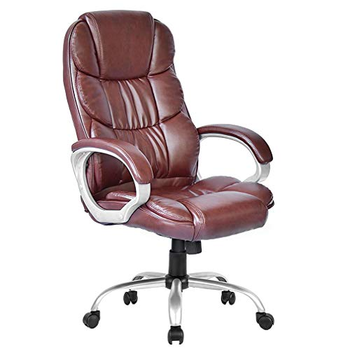 Office Chair Desk Chair Computer Chair Ergonomic Task Rolling Swivel Adjustable Stool High Back Executive Chair with Lumbar Support for Women Men,Brown