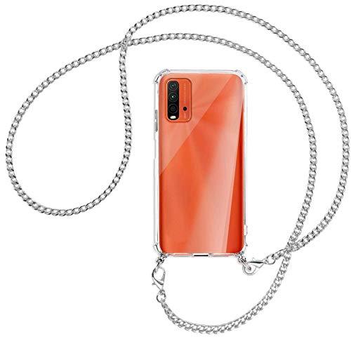 mtb more energy® Collar Smartphone para Xiaomi Redmi 9T (6.53  ) -  Cadena de Metal (Plata) -  Funda Protectora ponible -  Carcasa Anti Shock con Cuerda Correa