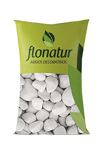 flonatur. Piedra mármol Canto rodado Blanco Saco de 25Kg, Piedra Decorativa para Jardin o Espacios Exteriores. (25/40)