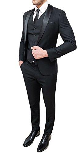 Abito Completo Uomo Sartoriale Nero Elegante con Panciotto e Cravatta in Coordinato (46)
