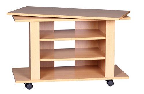 Wohnling Luca televisiemeubel draaibaar op wieltjes, 75 x 38 x 50 cm met draaiplateau voor tv, tv-tafel, hout beuken met legplank, tv-kast, hifi rek meubel