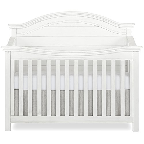 Evolur Belmar Curve 5-in-1 Convertible Crib in Weathered White, Greenguard Gold Certified