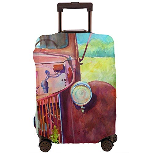 Old Red Abandoned Truck Fashion Suitcase Protective Cover,Suitcase Protective Cover,Scratch-Resistant,dust-Proof and Waterproof, Washable,Suitable for 18-32 inches