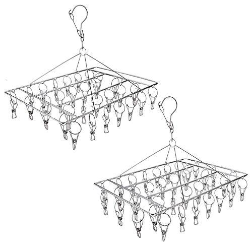Tosnail - Juego de 2 perchas de acero inoxidable para colgar ropa y secadora, 66 clips en total