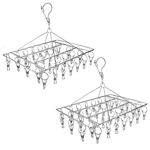 Product Image of the Tosnail 2 Pack Stainless Steel Clip and Drip Hangers Clothes Drying Rack Laundry Accessories - Total 66 Clips