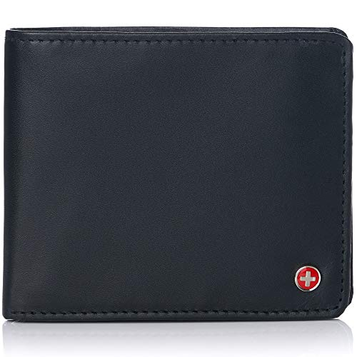Alpine Swiss RFID Luka Men's Flip ID Wallet Deluxe Capacity ID Bifold With Divided Bill Section Camden Collection Smooth Finish Black Comes in a Gift Box