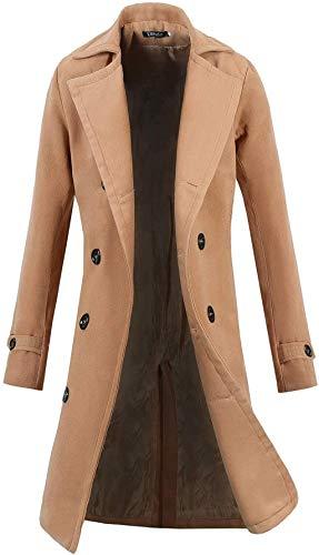 Lende Men's Trench Coat Winter Long Jacket Double Breasted Overcoat Khaki XL