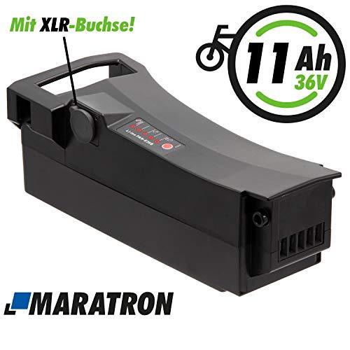 Maratron E-Bike Akku 36V 11Ah (400Wh) mit XLR-Buchse für Impulse, DerbyCycle, Raleigh, Kalkhoff Gazelle u.v.m.…