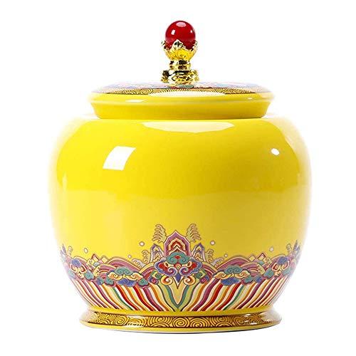 LIZONGFQ Funerals Asche Exquisite Geschirr Brennen Ashe Adult Asche Keramik-Behälter Jars Haustiere Funeral Asche Souvenirs Pet Asche-Halter-Behälter,Gelb