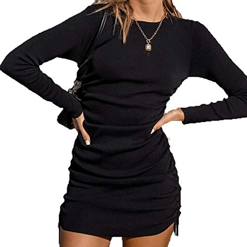 LAIYUTING 2020 New European and American Double-Sided Drawstring Long Sleeve Round Neck Dress Female Autumn and Winter Sexy One Step Dress Black