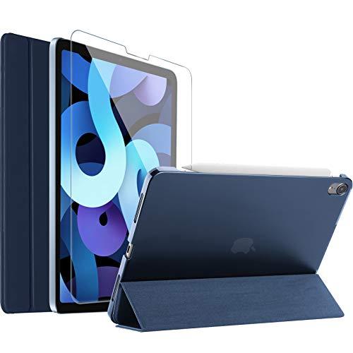 ProCase Funda con Protector de Pantalla para Nuevo iPad Air 4 10,9' 2020, Carcasa Delgada con Tapa Inteligente y Protector Vidrio Templado para iPad Air 4 Generación 2020 A2324/A2072/A2316/A2325-Azul