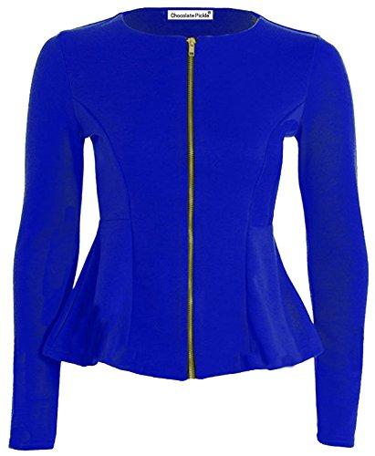 Nieuwe Dames Plus grootte Peplum Blazer Scuba Lange Mouwen Skater Jassen Tops 16 Royal Blauw