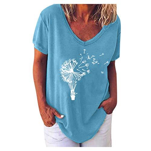 SNKSDGM Oberteile Damen Sommer T-Shirts FüR Damen Damen lässig V Hals T-Shirt Kurze Ärmel Brief drucken Bluse Tops Plus Größe Blau
