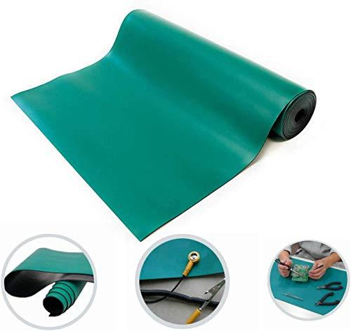 0,6 x 3 m, esterilla de goma antiestática, esterilla antiestática, color verde, grosor 2 mm para taller, laboratorio, banco de trabajo, línea de producción