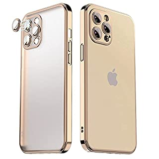 HYAIZLZ Designed for Gold iPhone 12 Pro Max Case with Camera Protection,[Support Wireless Charging] Slim Thin Silicone Shockproof Protective Phone Case Cover for Women/Men,Electroplated Frame