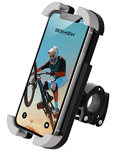 Beemoon Bike Phone Mount - Universal Adjustable Motorbike Phone Mount, Motorcycle Handlebars Anti-Shake Phone Holder Stand for iPhone 11 Pro, Pro Max 6S, Samsung S10 S9 S8, Huawei, All 4.7-6.8 Devices