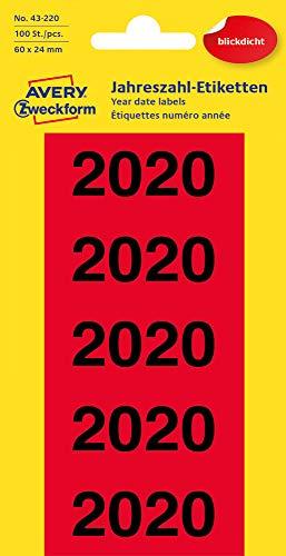 AVERY Zweckform 43-220 Jahreszahlen (Etiketten 60x24mm, Aufdruck 2020, 100 Aufkleber auf 20 Bögen, blickdicht) Rot