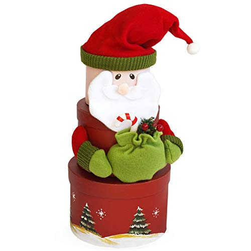 Christmas Santa Nesting Gift Boxes -3PCs Assorted Sizes Cardboard Gift Decorations Wrapping Boxes with lids. Ideal Box Set for Wrapping Candy, Chocolate, Cookies or Other Christmas Presents