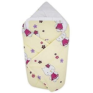 BlueberryShop manta de algodón para bebés con almohada, Saco de dormir para bebés recién nacidos, perfecto para Baby Shower, 78 x 78 cm