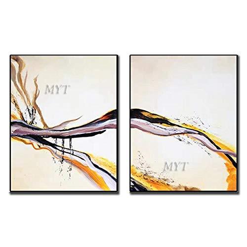 ZNYB Lienzos Decorativos Grandes 2 Piezas como 1 Juego sin Marco 1 Panel de Pintura Pintado a Mano decoración del hogar Pinturas al óleo Grandes Arte de Pared Abstracto