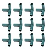 Babody 12pcs Gardening Plastic T-Connectors Bracket Pipe Parts,Tee Joint Bracket,3/4 Way 11mm Greenhouse Frame Connector for Flower Pot Vegetable Garden Lawn Fits Drip Tubing